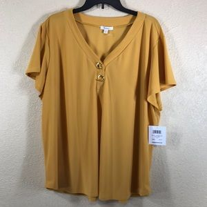 89th & Madison Top Blouse Sunflower Yellow NWT 3X